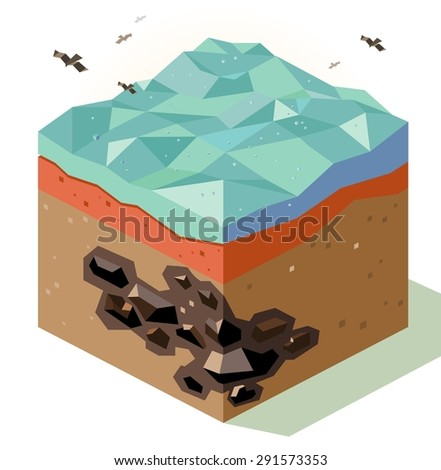 offshore coal mining. vector illustration - stock vector