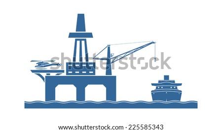 Offshore oil platform. Vector illustration - stock vector