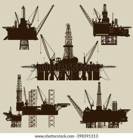 offshore oil platforms - stock vector