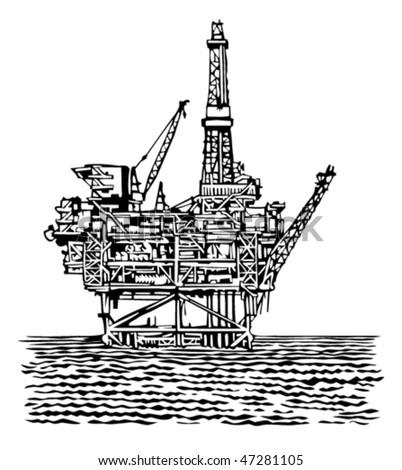 offshore oil rig platform - stock vector