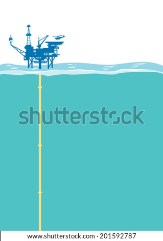Offshore oil rig platform with Helipad. Vector Illustration - stock vector