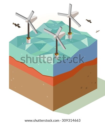 offshore Wind farm. isometric art - stock vector