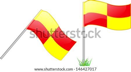 Offside Flag. Football symbol. Vector illustration - stock vector