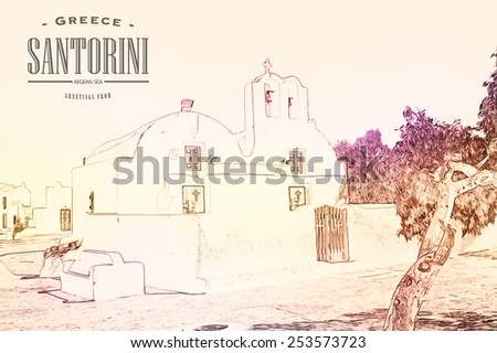 Oia village on the island of Santorini, Cyclades, Greece - stock vector