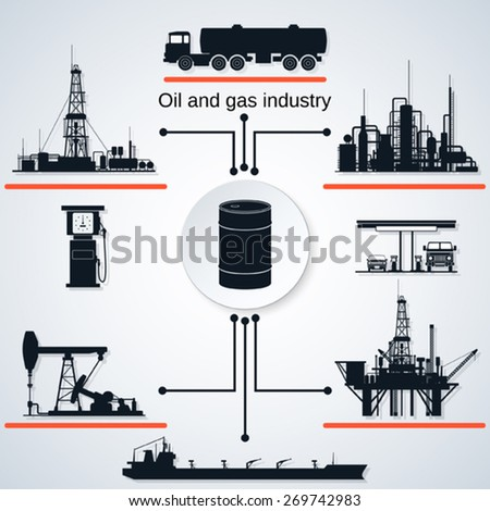 Oil and gas industry icons. Extraction, transportation and refining equipment. - stock vector