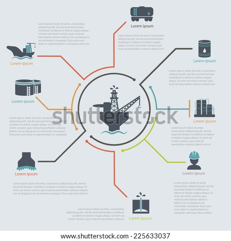 oil and gas industry infographic set  vector illustration oil Platform - stock vector