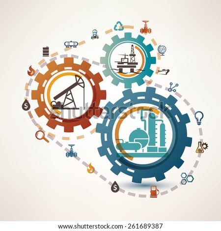 oil and gas industry infographics, extraction, processing and transportation, process and icons - stock vector