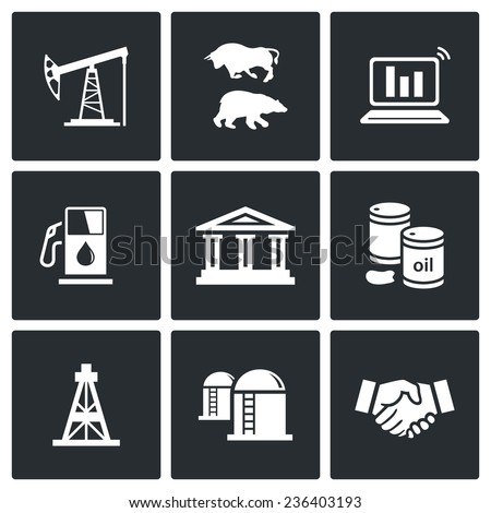 Oil and gas industry Vector Icons Set - stock vector
