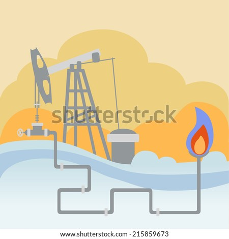 Oil and gas processing plant with pipe line valves and warming fire - stock vector