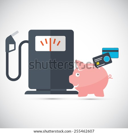 Oil and gasoline savings - Piggy bank with credit cards - stock vector
