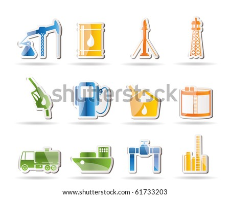 Oil and petrol industry icons - vector icon set - stock vector