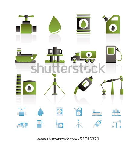 oil and petrol industry objects icons - vector icon set - stock vector