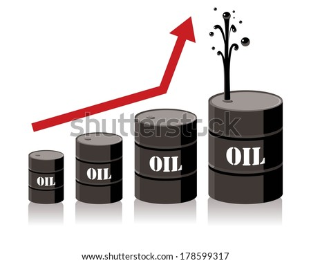 oil barrel chart graph with red arrow pointing up - stock vector