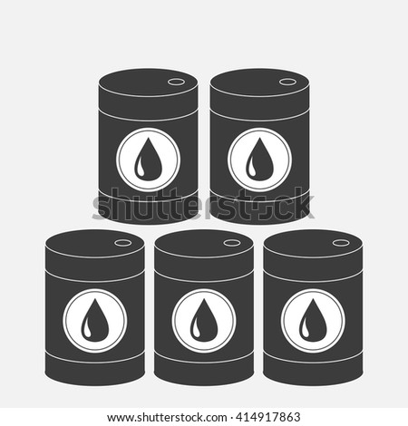 Oil barrel set with oil drop sign icon.  Isolated. Black sign on white background. Oil droplet. Flat design. Vector illustration - stock vector