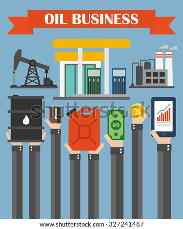 Oil business concept vector design flat ,with hands - stock vector