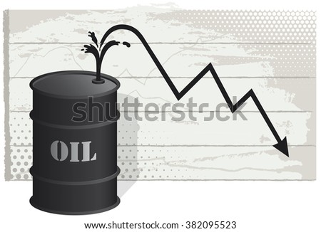 Oil crisis. Vector illustration depicting the crisis caused by falling oil prices. EPS10 file. - stock vector