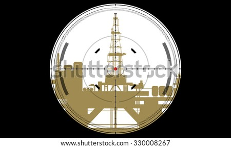 oil derrick with target sniper rifle - stock vector