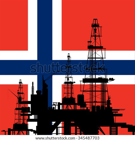 Oil drilling rig silhouette at Norway Flag background - stock vector
