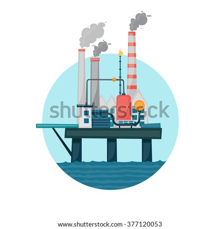 Oil extraction sea platform in the circle. Flat design vector illustration. - stock vector