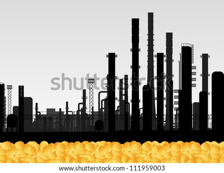 Oil factory and golden coins vector background concept - stock vector