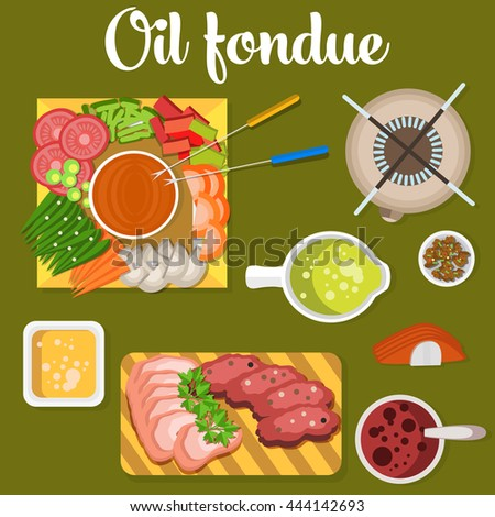 Oil fondue with meat and vegetables like carrot and tomato, pea, mushroom on plates. Broth or soup in bowl. Can be used for menu or restaurant design - stock vector