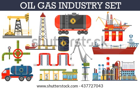 Oil gas industry infographics concept. Gasoline diesel fuel transportation and distribution icons.  - stock vector