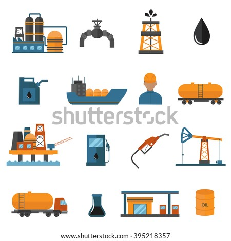 Oil gas industry manufacturing and oil gas icons for infographic. World oil gas production icons distribution and petroleum extraction rate business infochart diagram report vector.  - stock vector
