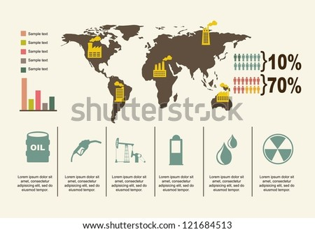 oil icons over beige background. vector illustration - stock vector