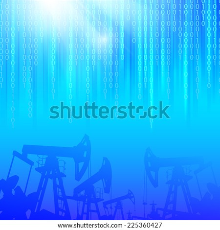 Oil industry background with digital sparks. Vector illustration. - stock vector