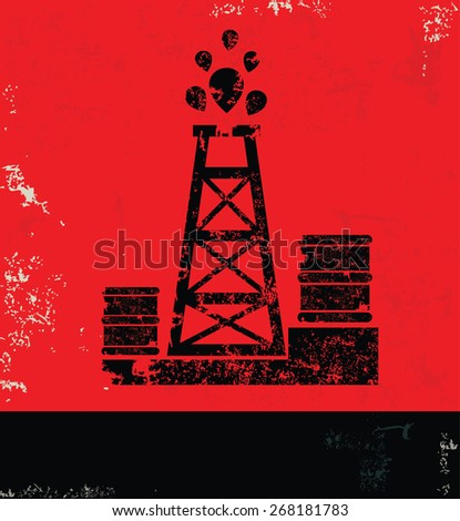 Oil industry design on red background,grunge vector - stock vector