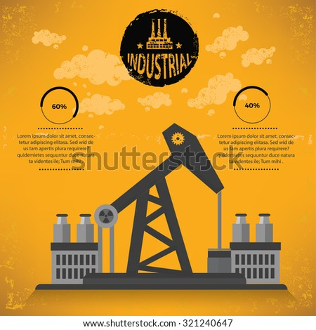Oil industry design on yellow background,grunge vector - stock vector