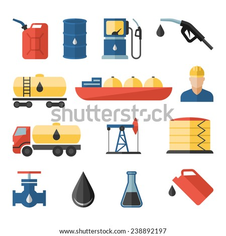 Oil industry drilling refining process petroleum transportation flat icons set with oilman and pump flat isolated vector illustration - stock vector
