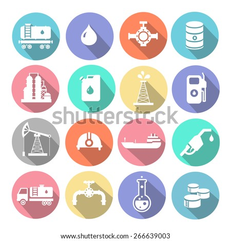 Oil industry drilling refining process petroleum transportation icons set with truck petroleum  tanker and pump flat isolated vector illustration - stock vector