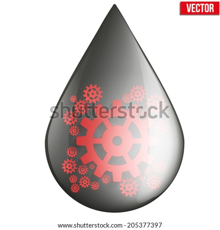 oil industry drop symbol with gears cogs. Vector Illustration isolated on white background. - stock vector