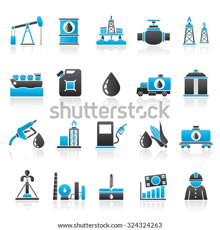 Oil industry, Gas production, transportation and storage  - vector icon set - stock vector