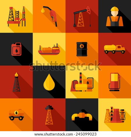 Oil industry gasoline petroleum processing icons flat set isolated vector illustration - stock vector