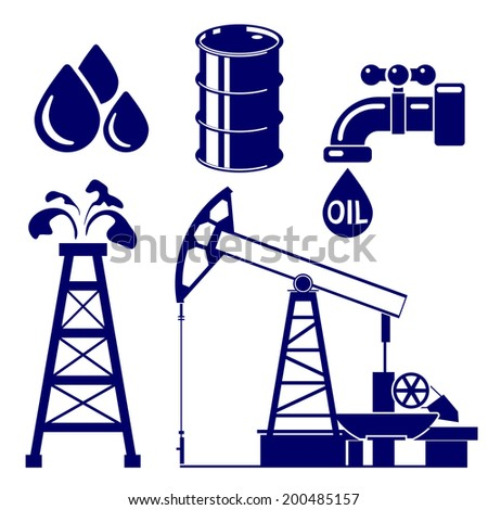 Oil industry icon  set symbol vector  illustration - stock vector