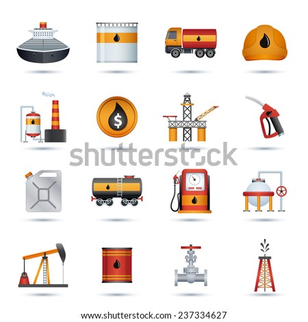 Oil industry petroleum fuel processing transportation and extraction icons set isolated vector illustration - stock vector