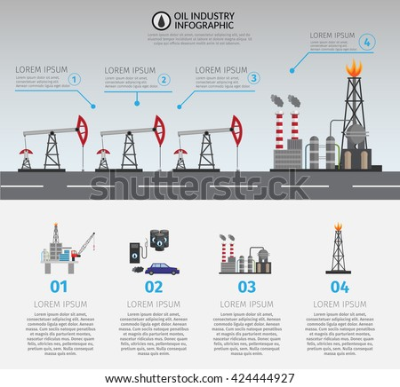 Oil industry processing and transportation infographics set Oil Production. Infographic oil elements. Oil background. - stock vector