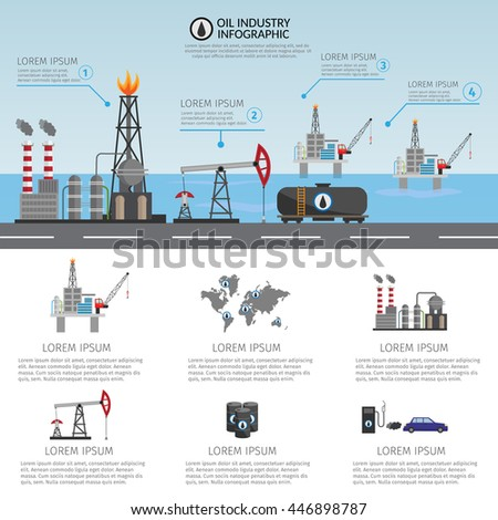 Oil industry processing and transportation infographics set production elements. - stock vector