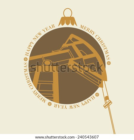 Oil industry pump in the christmas toy, template for your design. Vector illustration. - stock vector