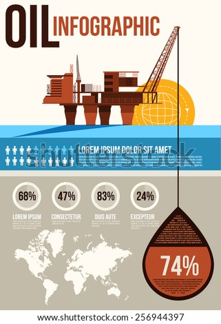 Oil Infographic.  Oil and gas offshore industry with stationary platform - stock vector