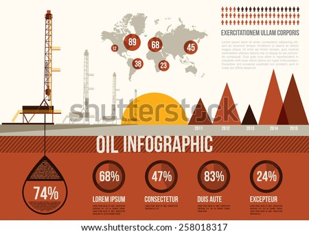 Oil Infographic. Oil and gas rig with map of the world - stock vector