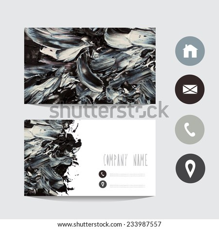 Oil painted black white business card template, design element. Can be used also for greeting cards, banners, invitations. Vectorized background - stock vector