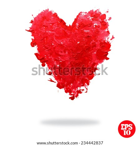 Oil painted red heart, design element. Can be used for cards, invitations, greetings, scrapbooking. Symbol of love. - stock vector