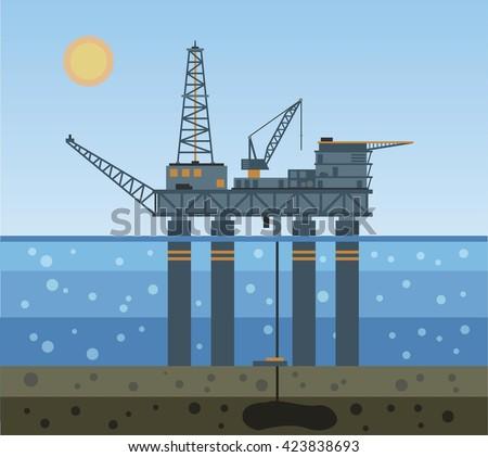 Oil platform in the sea. Vector illustration. - stock vector