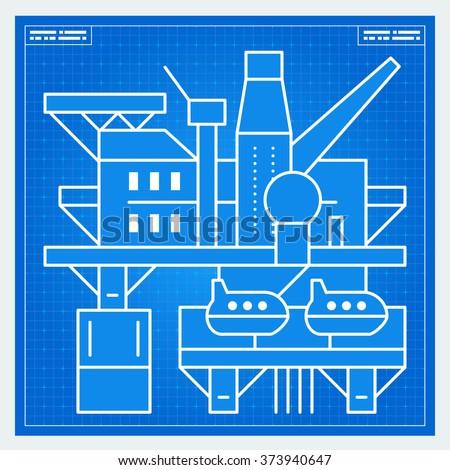 Oil platform rig blueprint scheme. Vector. - stock vector