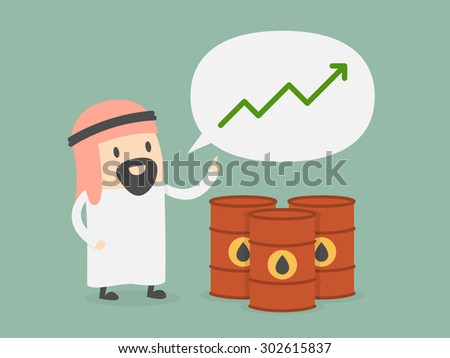 Oil price growth. Business concept cartoon illustration. - stock vector