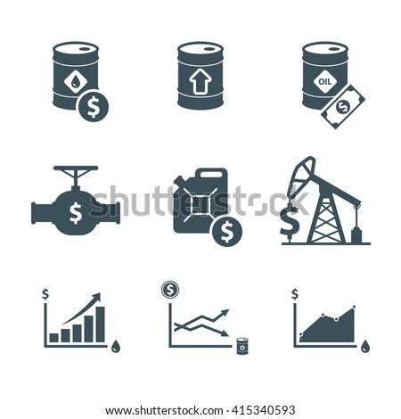 oil price icon set. oil prices up. crude oil barrel cost. rise in oil prices. graph growth infographic. isolated on white background. vector illustration - stock vector