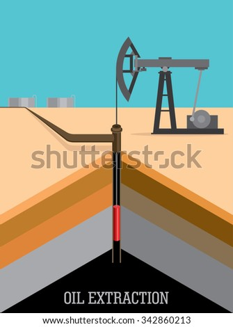 oil pump and pipeline in the desert - stock vector